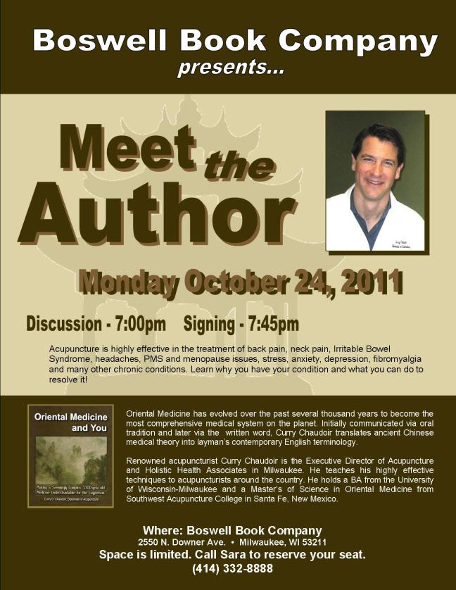 flier with details for 10/24/11 book talk and signing
